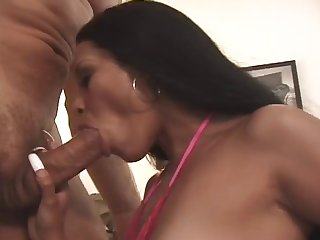 Long-haired Domino having joke bouncing on a stiff cock