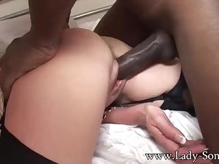 Brit COUGAR gets poked away from BIG BLACK COCK while Cuck witnesses