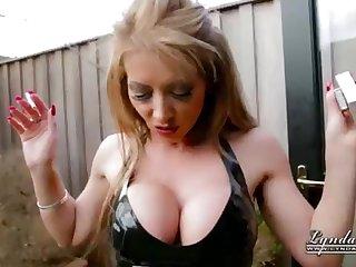 UK Housewife Cougar LyndaDressed helter-skelter Spandex Smoking Outside