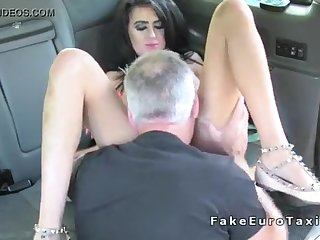 Dark haired knockout vigorously butt licking with taxi