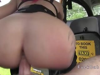 Sandy-Haired in undergarments got ass-fuck in faux cab
