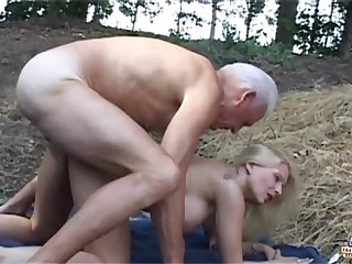 Blondie cougar is getting on all fours in front of an senior, ultra-kinky farmer added to inhaling his ginormous bone