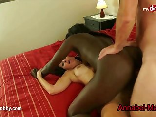 Crazy lady and a naughty black gal are deployment a gorgeous guy's giant, stiff more than half