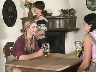 Inebriated Wicked Lesbos In German Pub Entice Huge-Chested MUMMY