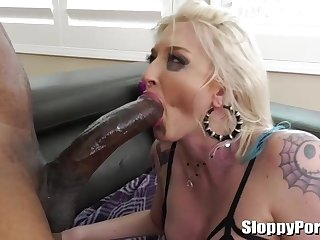 Girl who luvs a ample, ebony meat stick is deepthroating and ravaging like a professional