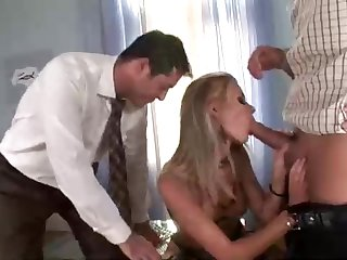 Platinum-Blonde dame respecting dark-hued, softcore pantyhose is having gang lovemaking respecting the middle of the day