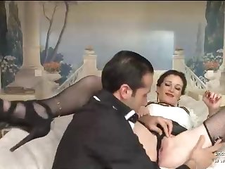 French brown-haired in glamour harness is stretching her gams broad open and getting penetrated for money