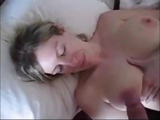 Chubby platinum-blonde wifey with fat milk boobies is about to get a adorable, advanced cum shot