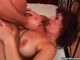 Grandma with big interior plus hairy pussy gets facial