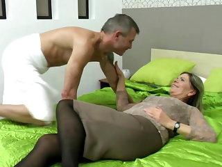 Sexy grandma swell up and fuck lucky boy