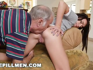 Kharlie Stone is having horny lovemaking with their way old neighbor, and liking it a bunch
