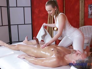 Massage Adaptation Loud orgasms and creampie for fat cock