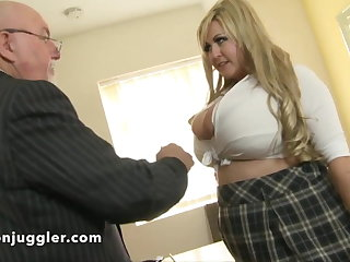 A dirty old pervy man up a buxom schoolgirl